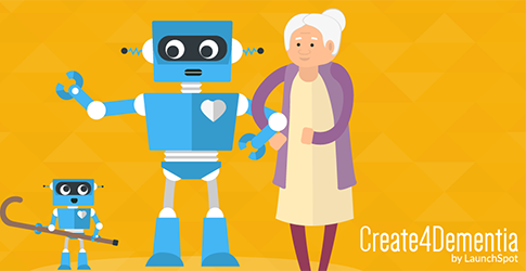 Cartoon image of an old woman being supported by a robot